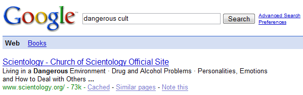 Google search for 'Dangerous Cult', Scientology as first result.