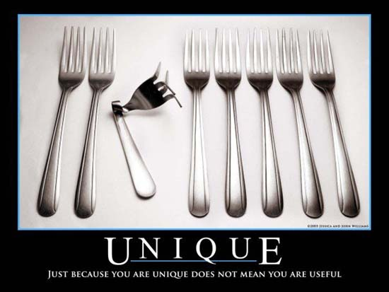 Unique / Just because you are unique does not mean you are useful