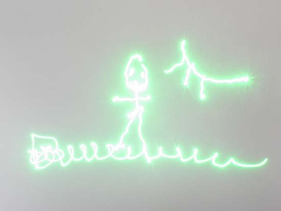 Stick figure drawn with a laser