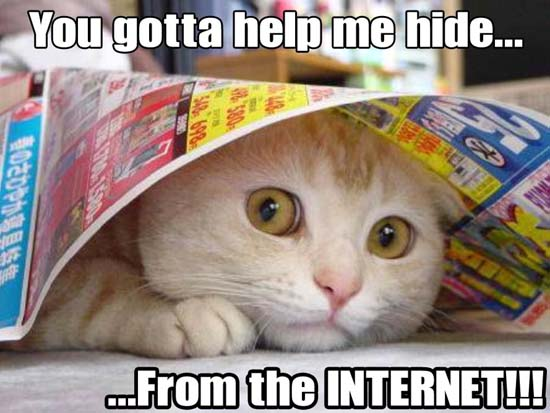 You gotta help me hide... ...From the Internet!!!