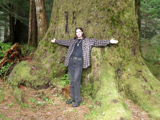 Sitka Spruce near Ward Lake in Ketchikan, Alaska. That's me in front of it.