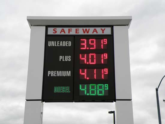 Safeway fuel prices in Ketchikan, Alaska.