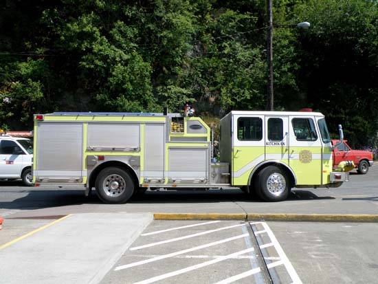Yellowish green Ketchikan fire truck.