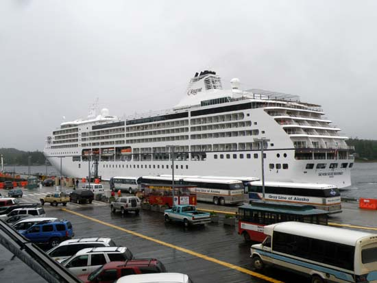Seven Seas Mariner docking in Ketchikan, Alaska. July 7, 2008.