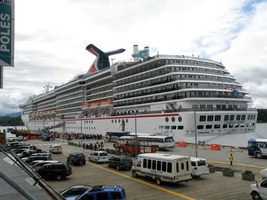 Carnival Spirit unloading passengers in Ketchikan, Alaska. July 14, 2008.