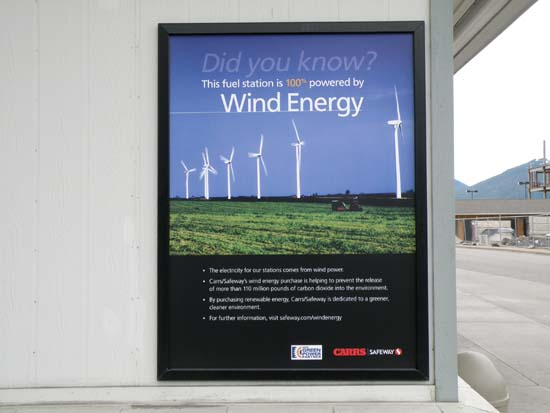 Did you know? This fuel station is 100% powered by Wind Energy.
