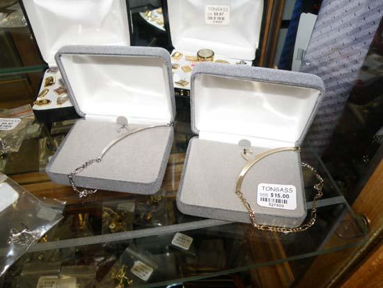 Coat hanger bracelets.