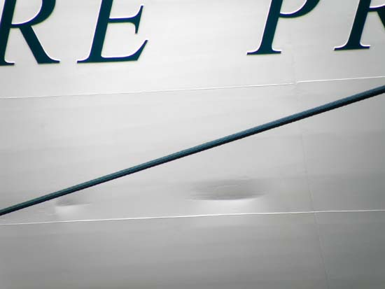 Dents in the Sapphire Princess cruise ship.