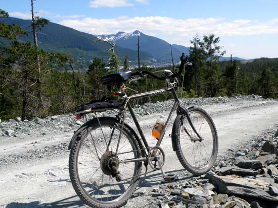 Bicycle with Ketchikan in the background.