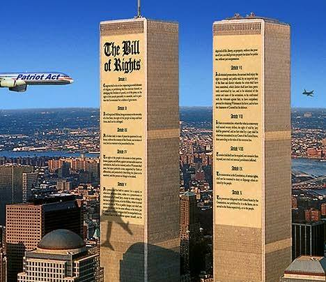 Bill of rights as World Trade Center, Patriot Act as the jet that destroys it.