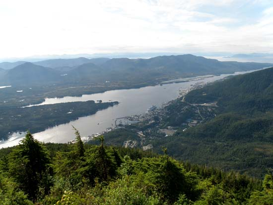 View of Ketchikan, Alaska from the top of Deer Mountain.
