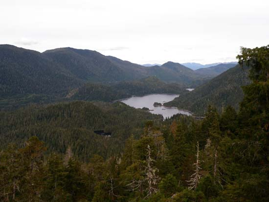 Connel Lake and Talbot Lake as seen from Ward Mountain in Ketchikan, Alaska. September 25, 2008.