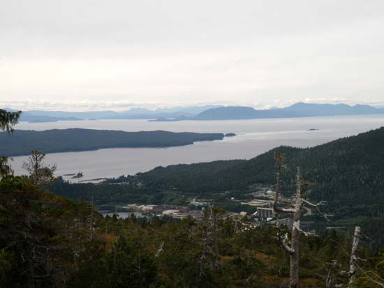 Old pulp mill, Valner, and Guard Island as seen from Ward Mountain in Ketchikan, Alaska. September 25, 2008.