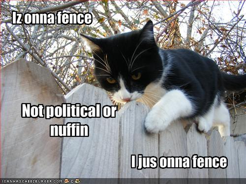 Iz onna fence. / Nor political or nuffin. / I jus onna fence.