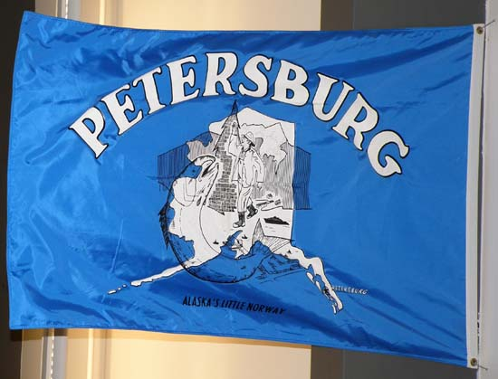 Petersburg flag hanging in the ferry terminal.
