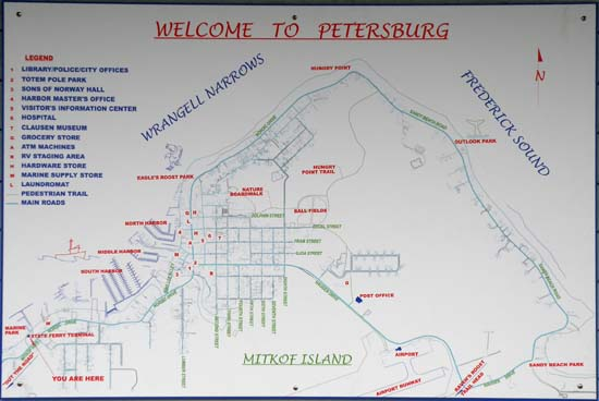 Map of Petersburg, Alaska.