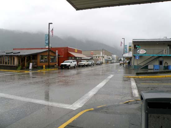 Downtown Petersburg, Alaska looking North.
