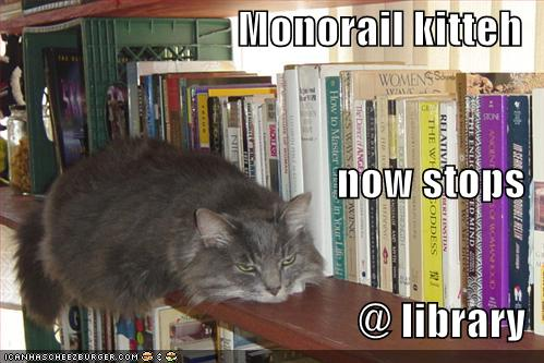 Monorail kitteh now stops @ library