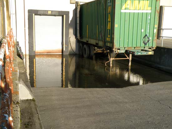 Loading area flooded with sea water.