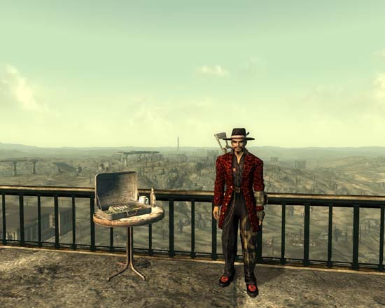 Fallout 3 screenshot, Pimp with the Capitol Wasteland in the background.