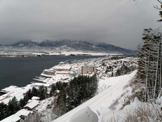 West end of Ketchikan, Alaska covered in snow. December 29, 2008
