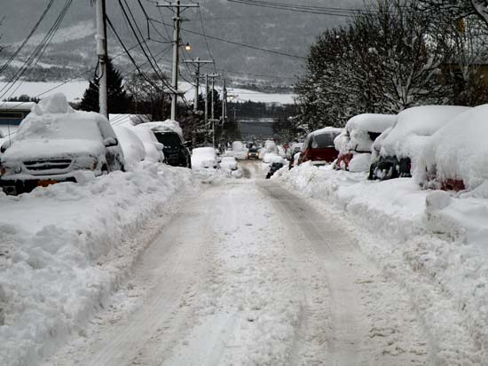 Second Ave in Ketchikan, Alaska covered in snow. December 29, 2008