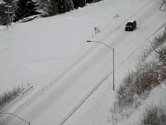 3rd Ave bypass in Ketchikan, Alaska covered in snow. December 29, 2008