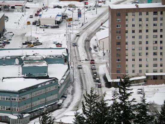 Snow bermed up in the center of the road between lanes in Ketchikan, Alaska. December 29, 2008