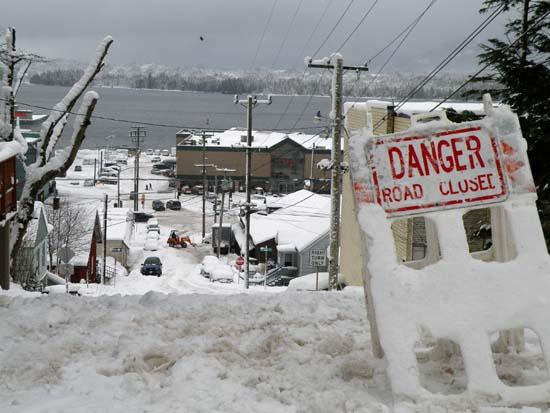 Washington Street closed in Ketchikan, Alaska. December 29, 2008