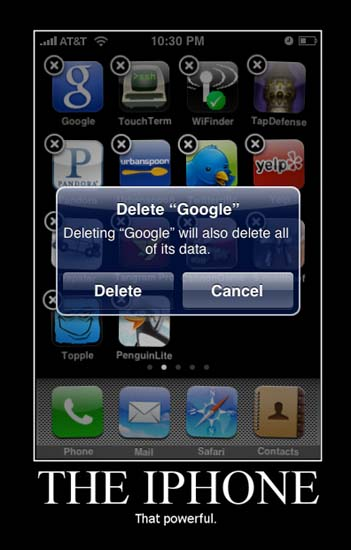 "Delete ""Google"" Deleting ""Google"" will also delete all of its data. [Delete] [Cancel] / The iPhone / That powerful."