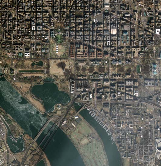 Satellite image of Washington DC on the day of Obama's Inauguration