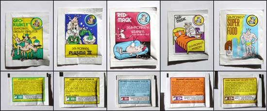 Fronts and backs of the 5 packets in my order.