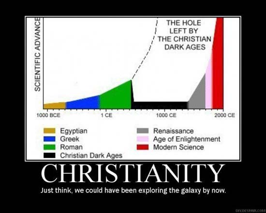 Christianity / Just think, we could have been exploring the galaxy by now.