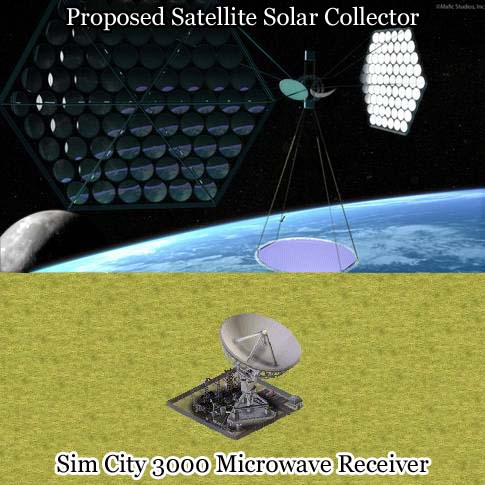Real-life proposed Solar collector / Sim City 3000 Microwave Power Plant