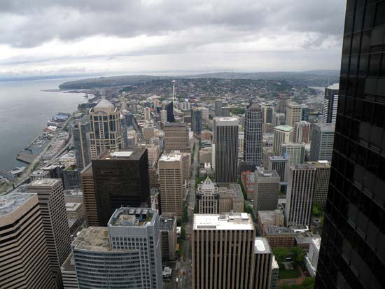 Downtown Seattle as seen from the 73rd floor of the Columbia Tower. (May 19th, 2009)