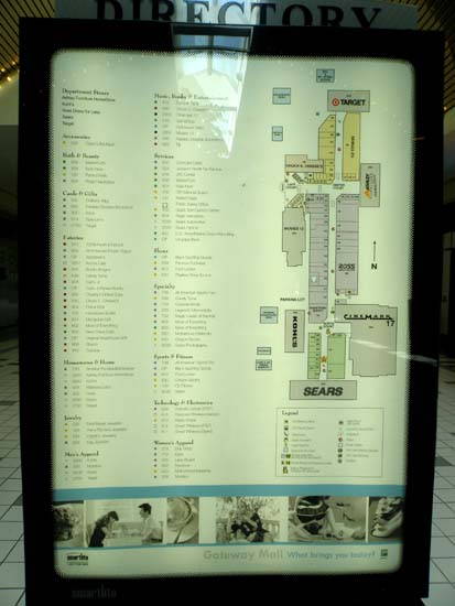 Gateway Mall directory in Springfield, Oregon.