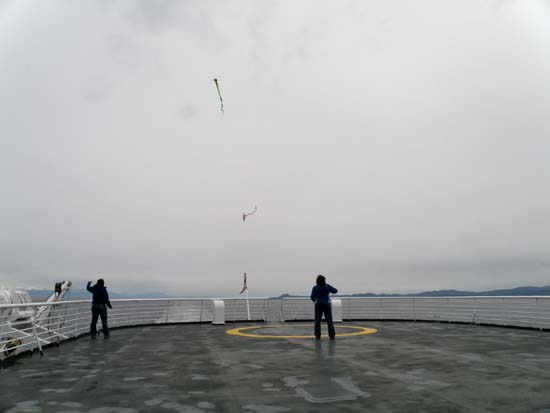 Kites being flown from the Taku.