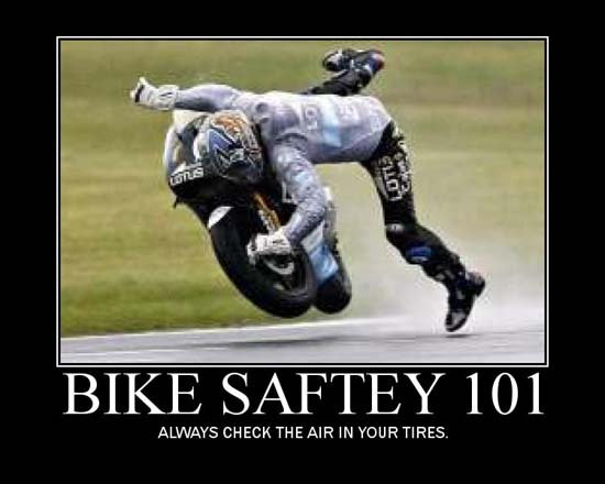 Bike Safety 101 / Always check the air in your tires.