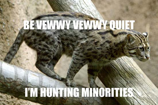 be vewwy vewwy quiet i'm hunting minorities