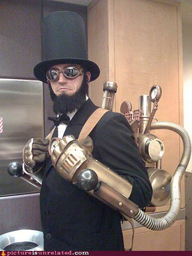 Lincoln with a brass backpack.