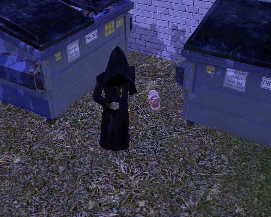 Grim Reaper abandoning baby at dumpsters.