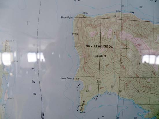 Topographical map of Brow Point, Nose Point, and Chin Point.