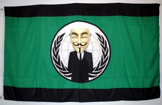 Flag of Anonymous with a Guy Fawkes mask.