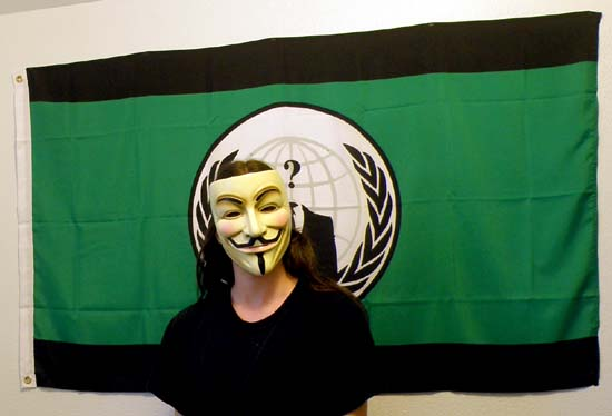 Marf wearing a Guy Fawkes mask.