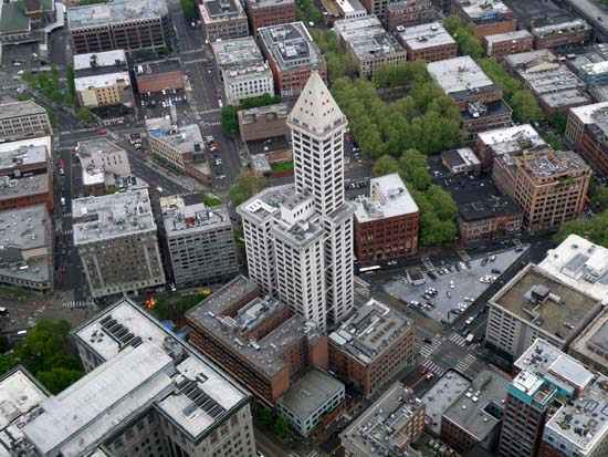 Looking down on the Smith Tower