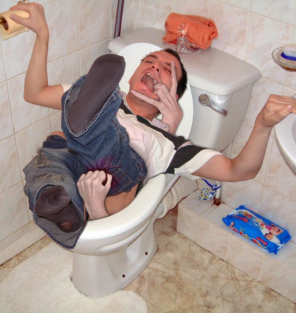 забежала посрать в туалет