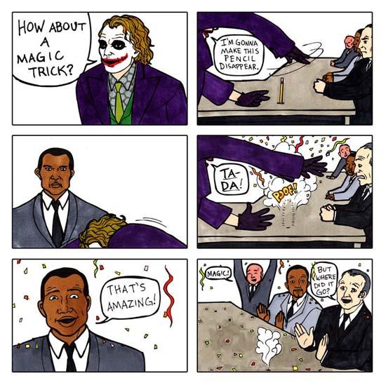 The Joker's alternate pencil trick.