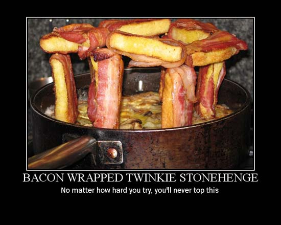 Bacon Wrapped Twinkie Stonehenge / No matter how hard you try, you'll never top this.