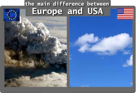 The main difference between Europe and USA / Volcanic ash