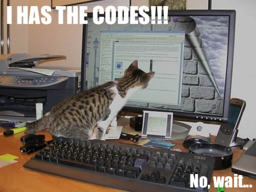 I has the codes!!! No, wait...